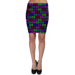 Colourful Bricks Pattern Colour Bodycon Skirt