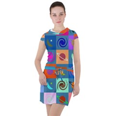 Space Pattern Multicolour Drawstring Hooded Dress by Bejoart