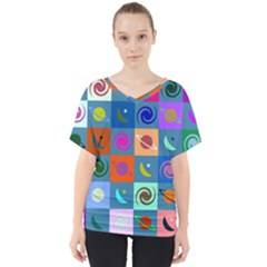Space Pattern Multicolour V-neck Dolman Drape Top