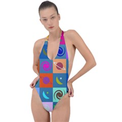 Space Pattern Multicolour Backless Halter One Piece Swimsuit by Bejoart