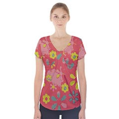 Aiflowers Pattern Short Sleeve Front Detail Top