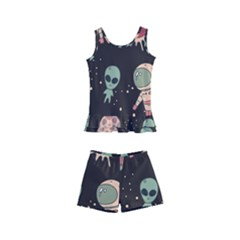 Space Pattern Cartoon Kids  Boyleg Swimsuit by Bejoart