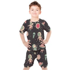 Space Pattern Cartoon Kids  Tee And Shorts Set by Bejoart