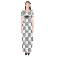 Seamless Tile Derivative Pattern Short Sleeve Maxi Dress by Bejoart