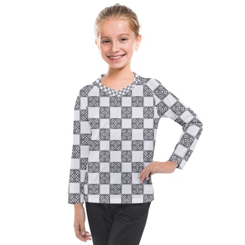 Seamless Tile Derivative Pattern Kids  Long Mesh Tee by Bejoart
