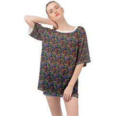 Seamless Prismatic Geometric Pattern With Background Oversized Chiffon Top
