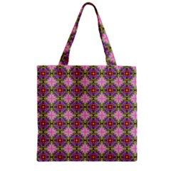 Seamless Psychedelic Pattern Zipper Grocery Tote Bag