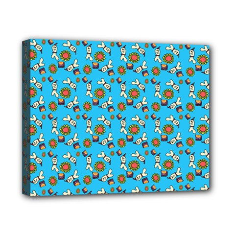 Clown Ghost Pattern Blue Canvas 10  X 8  (stretched) by snowwhitegirl