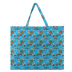 Clown Ghost Pattern Blue Zipper Large Tote Bag