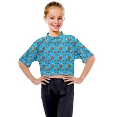 Clown Ghost Pattern Blue Kids Mock Neck Tee