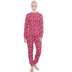 Clown Ghost Pattern Pink Women s Lounge Set