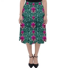 Flowers Love And Silver Metal Hearts Is Wonderful As Sunsets Classic Midi Skirt