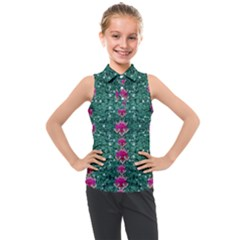 Flowers Love And Silver Metal Hearts Is Wonderful As Sunsets Kids  Sleeveless Polo Tee