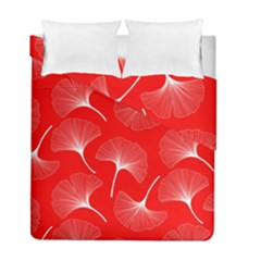 White Abstract Flowers On Red Duvet Cover Double Side (full/ Double Size)