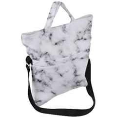 White Faux Marble Texture  Fold Over Handle Tote Bag by Dushan