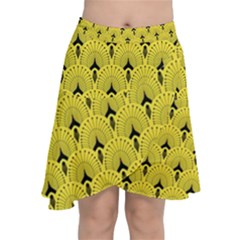 Art-decoyellow Chiffon Wrap Front Skirt