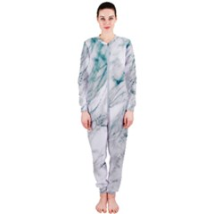 Gray Faux Marble Blue Accent Onepiece Jumpsuit (ladies)  by Dushan