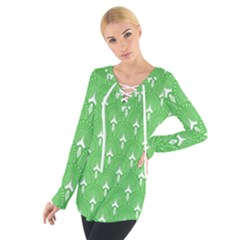 Green And White Art-deco Pattern Tie Up Tee