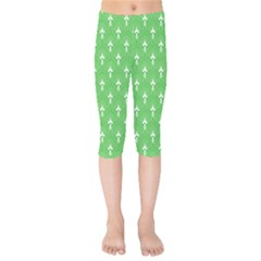 Green And White Art-deco Pattern Kids  Capri Leggings  by Dushan