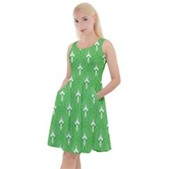 Green And White Art-deco Pattern Knee Length Skater Dress With Pockets