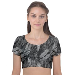 Black And White Rocky Texture Pattern Velvet Short Sleeve Crop Top