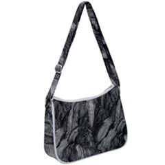Black And White Rocky Texture Pattern Zip Up Shoulder Bag by dflcprintsclothing
