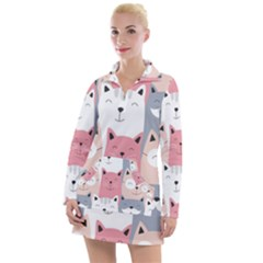 Cute Seamless Pattern With Cats Women s Long Sleeve Casual Dress