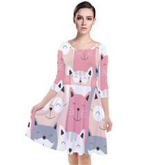 Cute Seamless Pattern With Cats Quarter Sleeve Waist Band Dress
