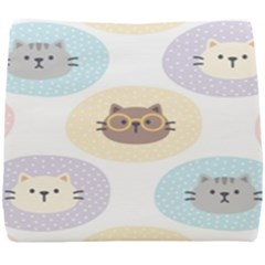Cute Cat Seamless Pattern Background Seat Cushion by Bejoart