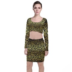 Gold And Black, Metallic Leopard Spots Pattern, Wild Cats Fur Top And Skirt Sets by Casemiro