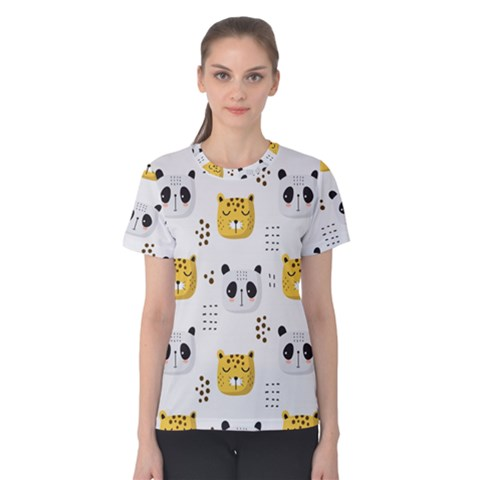 Seamless Pattern Cute Animals Women s Cotton Tee by Bejoart