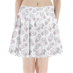 Cute Pattern With Easter Bunny Egg Pleated Mini Skirt