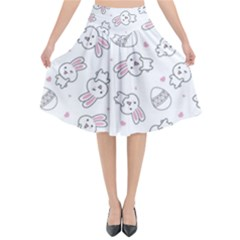 Cute Pattern With Easter Bunny Egg Flared Midi Skirt