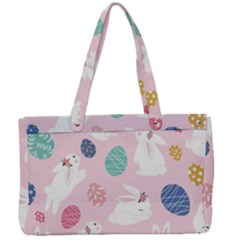 Cute Bunnies Easter Eggs Seamless Pattern Canvas Work Bag by Bejoart