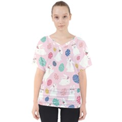 Cute Bunnies Easter Eggs Seamless Pattern V-neck Dolman Drape Top