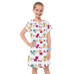 Pattern With Cute Cats Kids  Drop Waist Dress