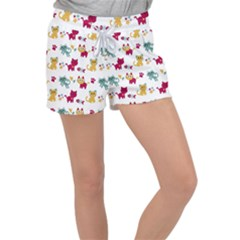 Pattern With Cute Cats Velour Lounge Shorts