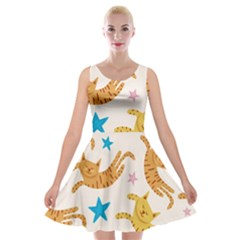 Cute Cats Seamless Pattern With Stars Funny Drawing Kittens Velvet Skater Dress