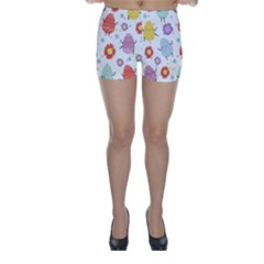 Easter Seamless Pattern With Cute Eggs Flowers Skinny Shorts
