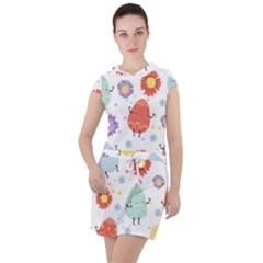 Easter Seamless Pattern With Cute Eggs Flowers Drawstring Hooded Dress by Bejoart