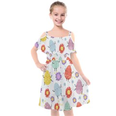 Easter Seamless Pattern With Cute Eggs Flowers Kids  Cut Out Shoulders Chiffon Dress