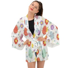 Easter Seamless Pattern With Cute Eggs Flowers Long Sleeve Kimono