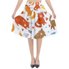 Seamless Pattern With Kittens White Background Flared Midi Skirt