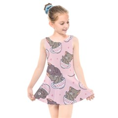 Seamless Pattern Adorable Cat Inside Cup Kids  Skater Dress Swimsuit