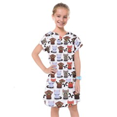 Seamless Pattern With Cute Little Kittens Various Color Kids  Drop Waist Dress