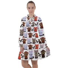 Seamless Pattern With Cute Little Kittens Various Color All Frills Chiffon Dress by Bejoart