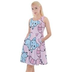 Children Pattern Design Knee Length Skater Dress With Pockets
