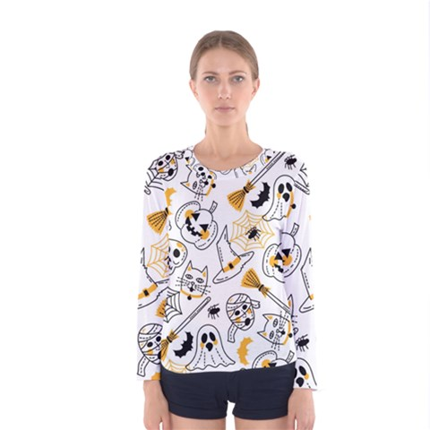 Funny Hand Drawn Halloween Pattern Women s Long Sleeve Tee by Bejoart