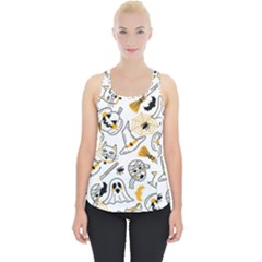 Funny Hand Drawn Halloween Pattern Piece Up Tank Top by Bejoart