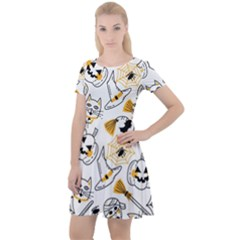 Funny Hand Drawn Halloween Pattern Cap Sleeve Velour Dress